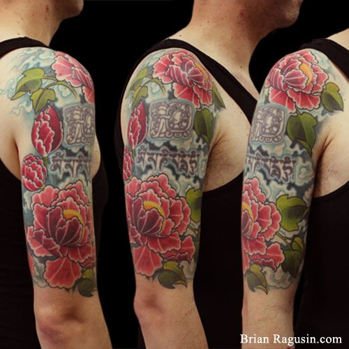 43 Japanese Peony Tattoos Collection: Graphic Japanese Peony Half Sleeve Tattoo By Brian Ragusin
