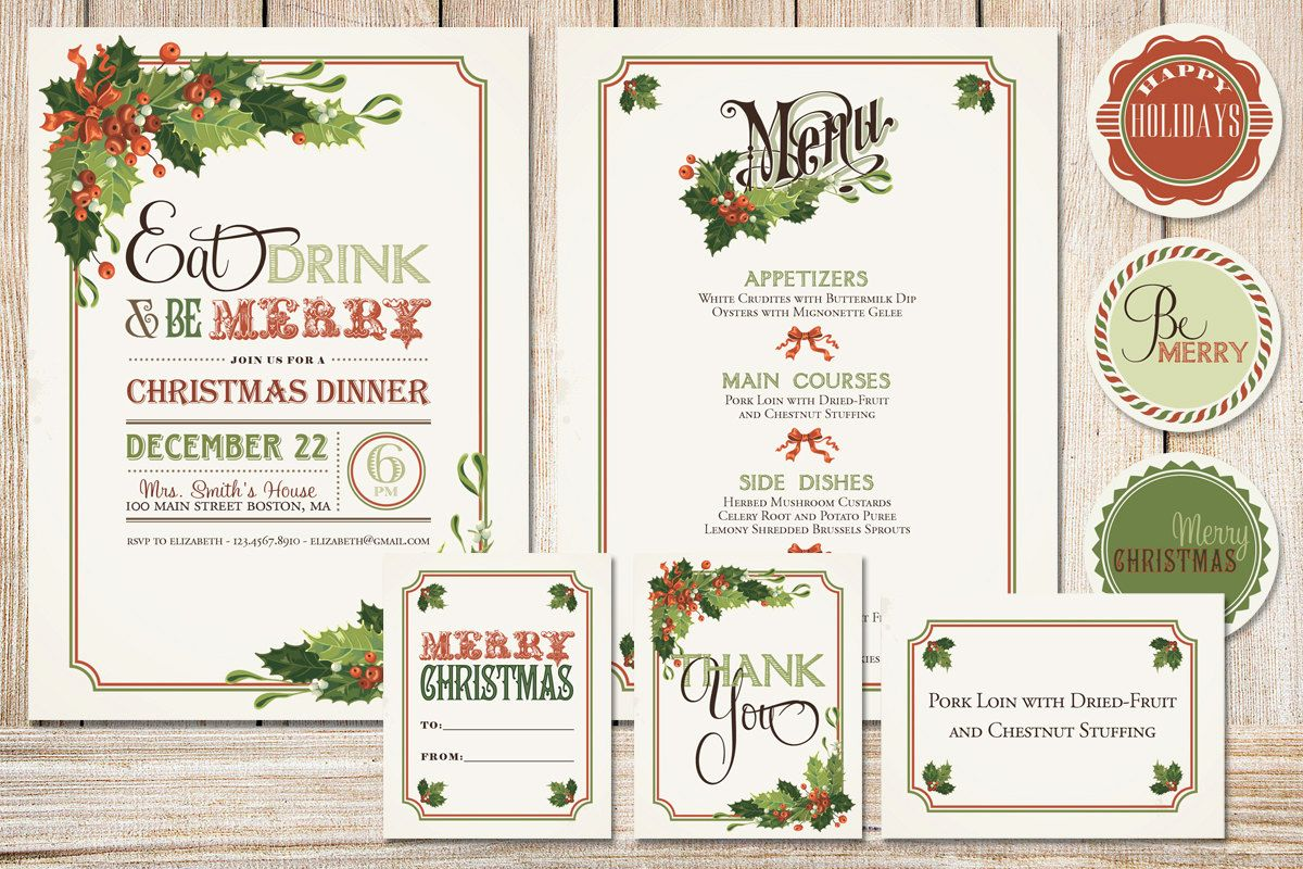 Printable Christmas Party Pack With Holly Boughs