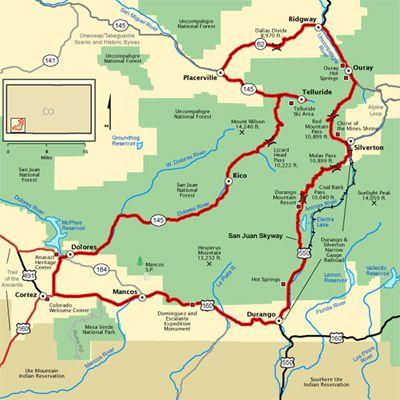 Map of the San Juan Skyway Near Durango Colorado Utah Grand