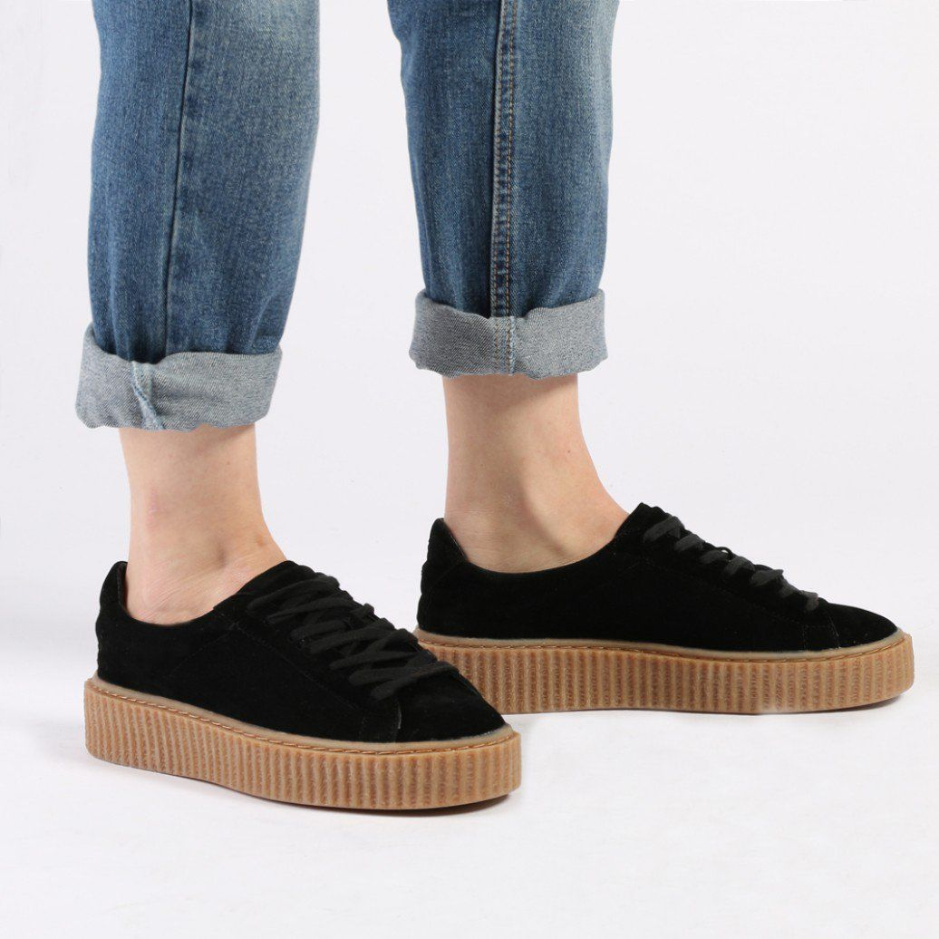 Yinka Creepers In Grey Faux Suede and Gum Sole