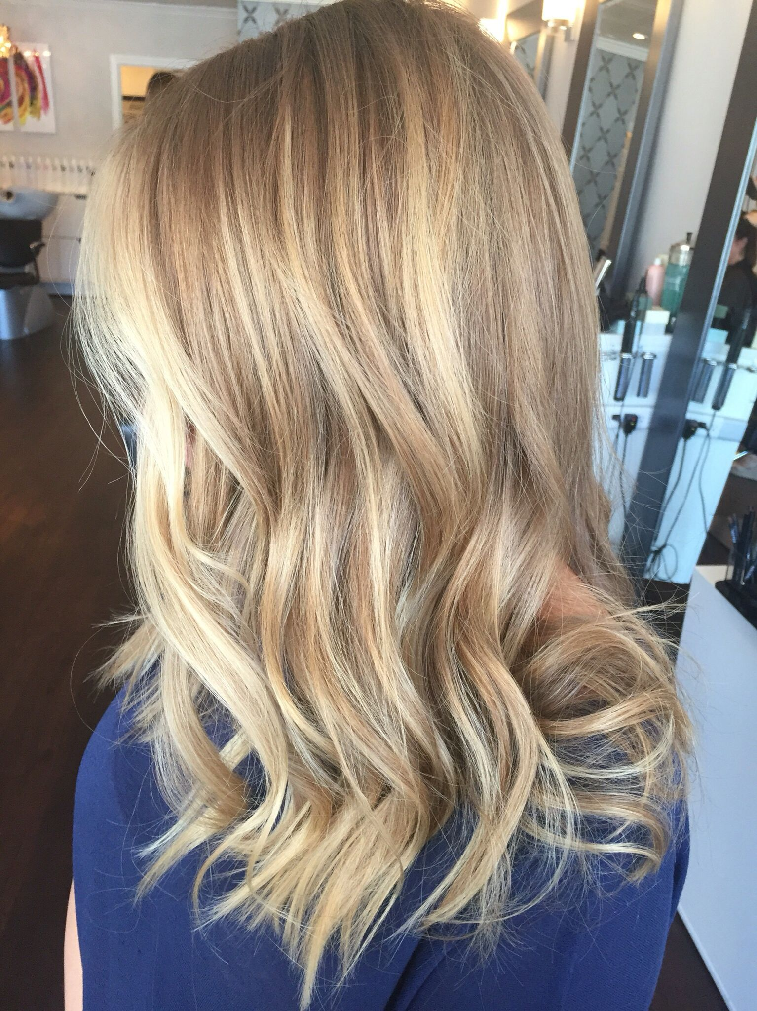 Balayage Blonde With Blonde And Golden Dimension Hair By