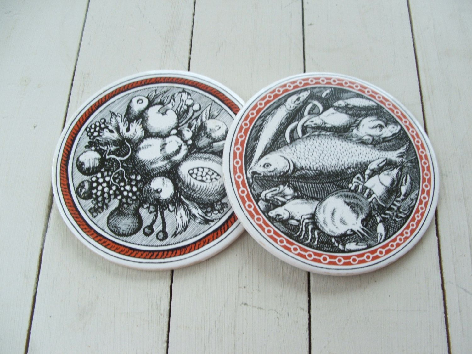 Vintage Kitchen Wall Hangings Coasters Trivets Hot Plates Ceramic ...