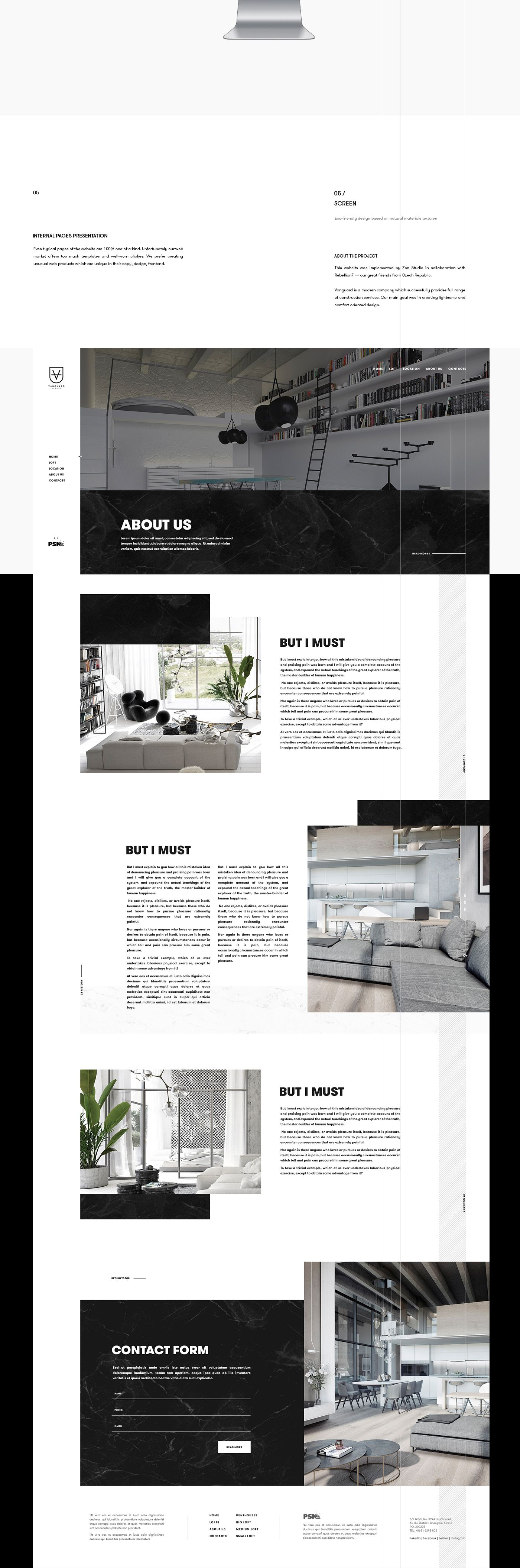 Vanguard Stylish Web Project For The Development And Construction Company Website Is Provided By Zen Studio In Col Experience Design Page Design Web Project