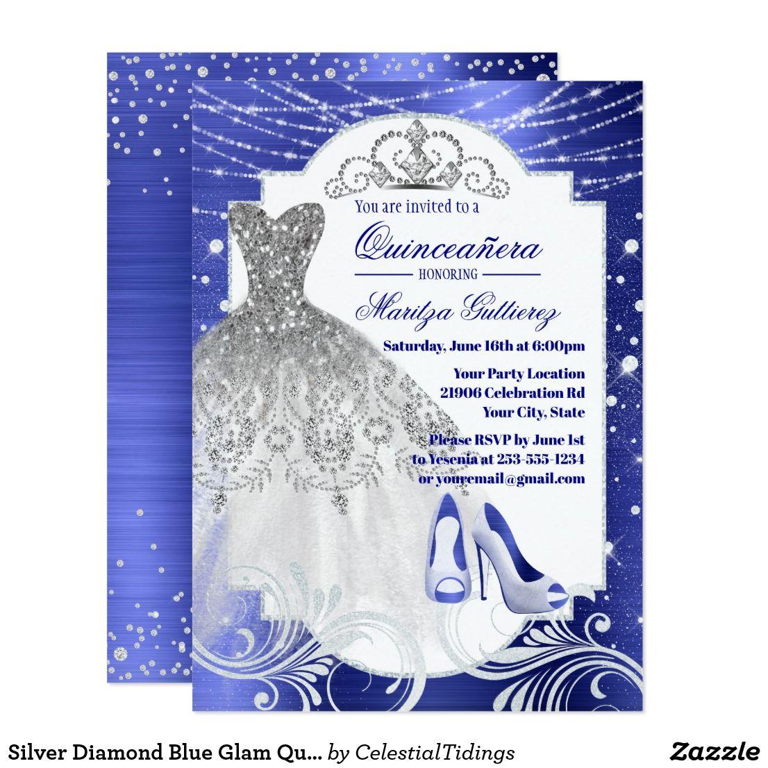 Silver Diamond Blue Glam Quinceañera Invitation This Elegant Silver Gown Diseño De Tarjeta De Invitación Invitaciones Para Quinceaños Quinceañera Invitaciones