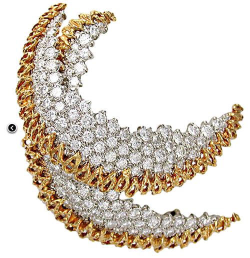 Vintage Half Moon Diamond and Gold Earrings