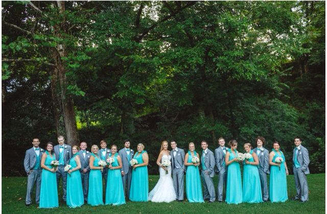 Turquoise And Grey Wedding In 2019 Turquoise Bridesmaid