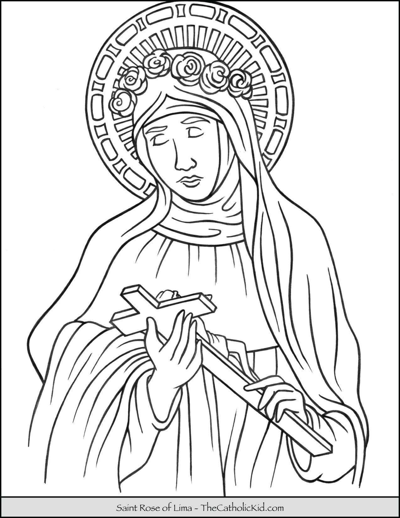 Saint Rose Of Lima Coloring Page Thecatholickid Com With Images