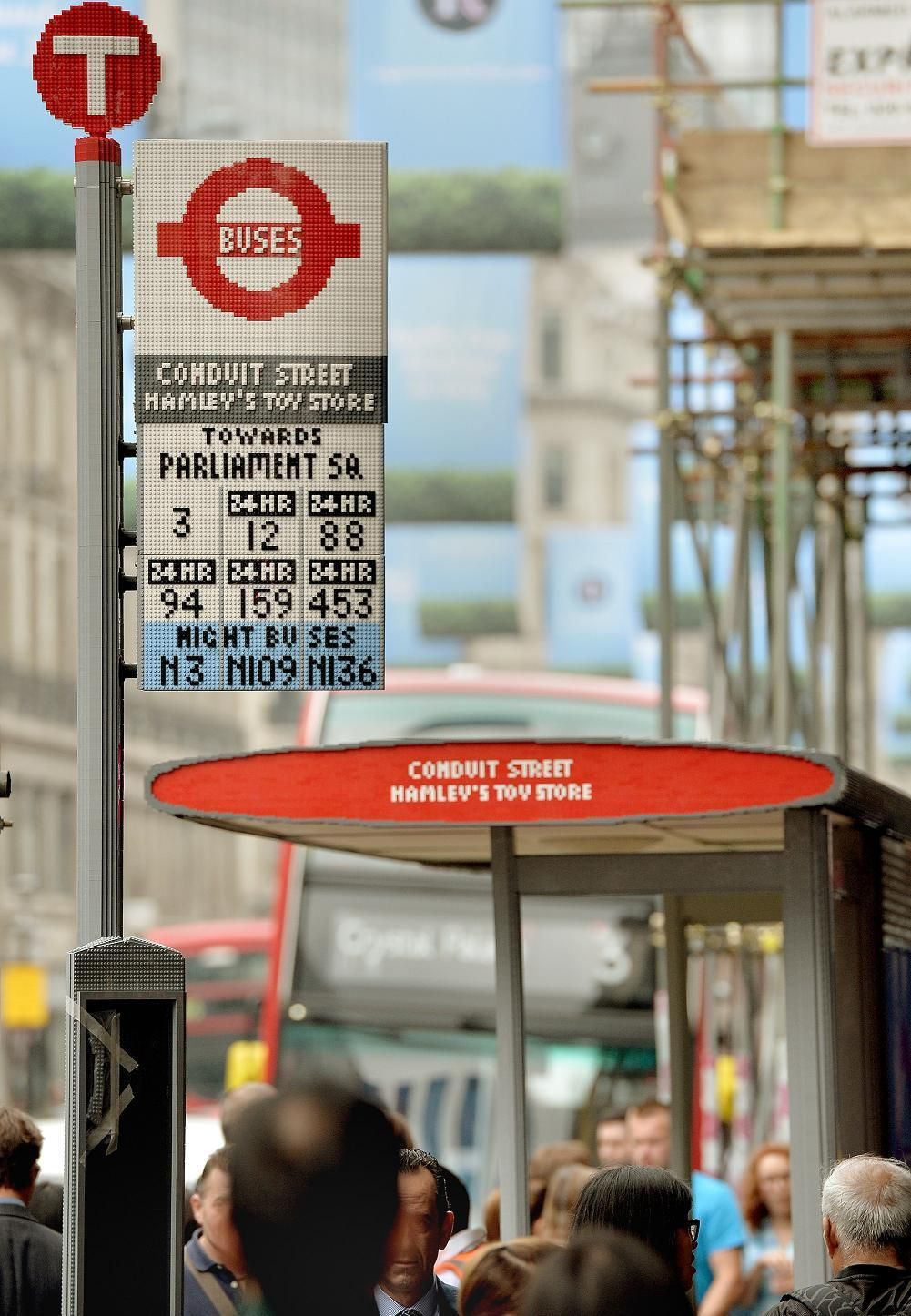LEGO bus stop on Regent Street, London