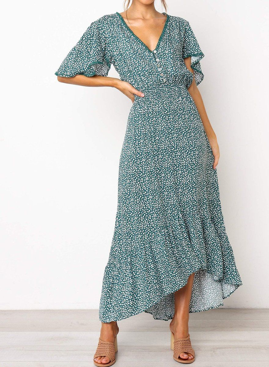 Maxi length dress V Neckline with trim detail Floral print