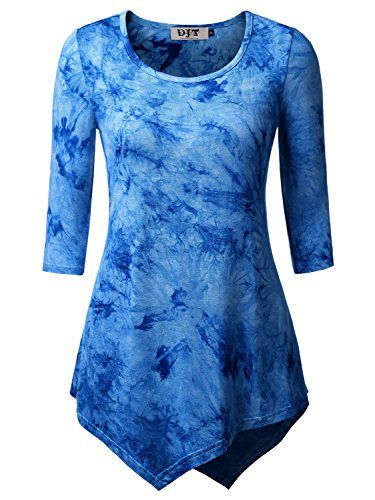 DJT Women's Scoop Neck 3/4 Sleeve Hankerchief Hem Tunic T... https · Tunic TopsTie  DyedDyesLight ...