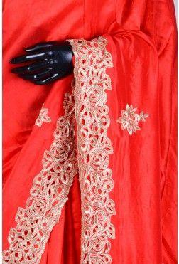Pure Handloom Silk Embroidery-Red-Cutdana Work-WH1076