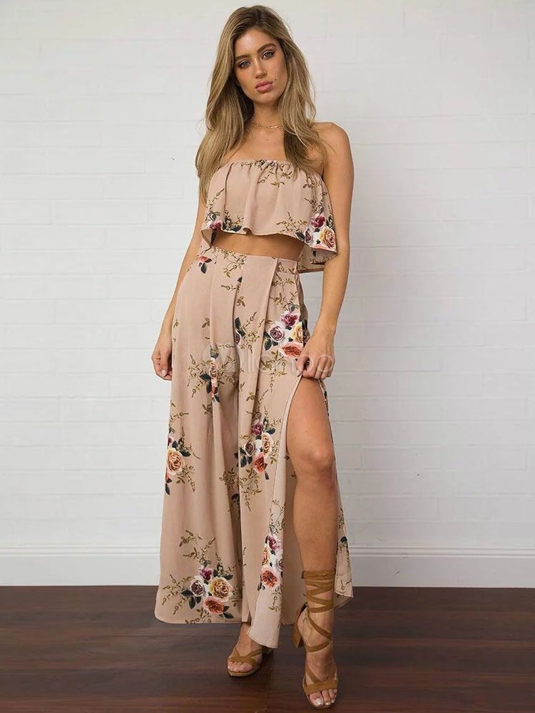 69251a7dd3 2 Piece Skirt Set Boho Pink Floral Printed Strapless Sleeveless Top With Slit  Maxi Skirt