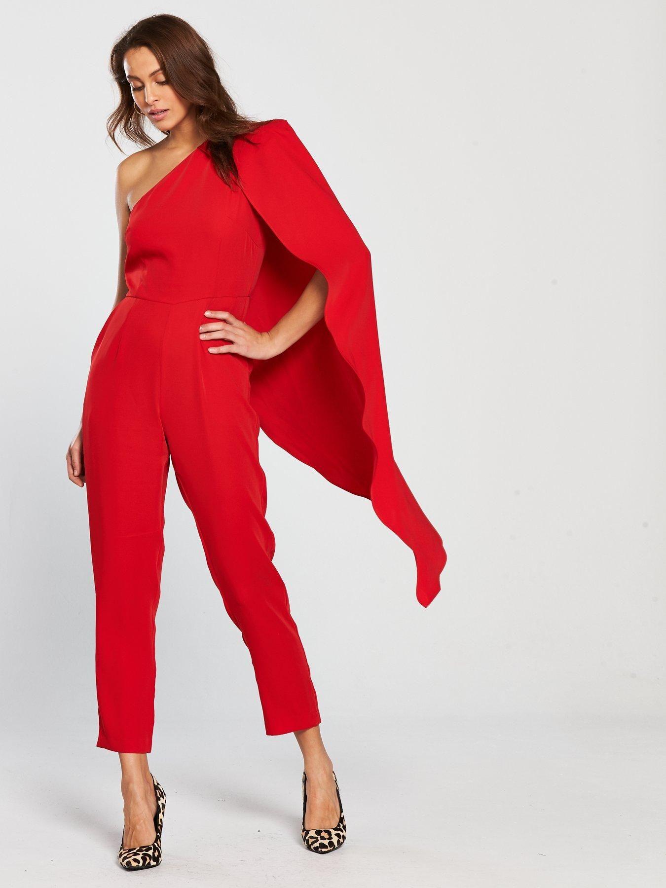 ce2f8676e9 Lavish Alice One Shoulder Cape Tailored Jumpsuit - Red