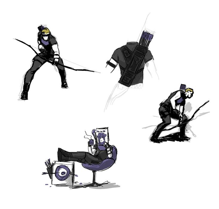 More concept art by David Aja for Hawkeye. Love the chair.