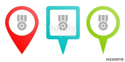 medal prize Multicolor pin vector icon diferent type map and navigation point