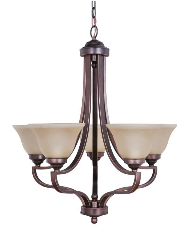 Craftmade 9827-5 Portia Single Tier 5 Light Chandelier - 27 Inches Wide Metropolitan Bronze Indoor Lighting Chandeliers Mini Chandeliers