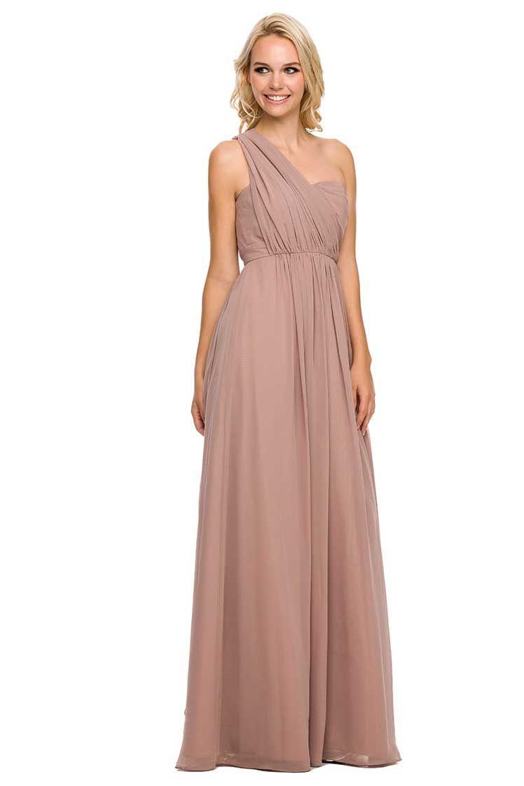 Chiffon Convertible Dress Multi-Way Tie Empire Long Gown in Tan