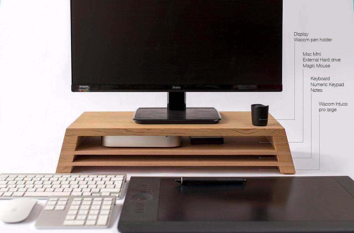 Ultimate display / monitor stand with Mac mini, Wacom (drawing