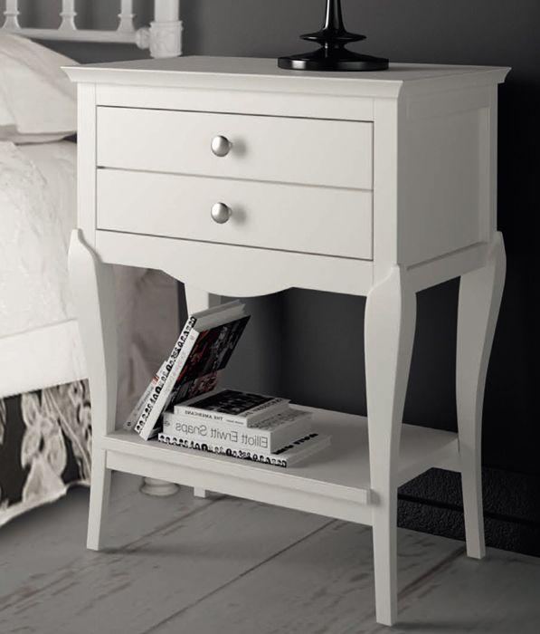 Mesitas de noche de 2 cajones en color blanco, muebles coquetos para ...