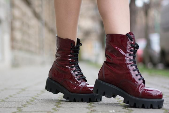 marsala patent leather boots
