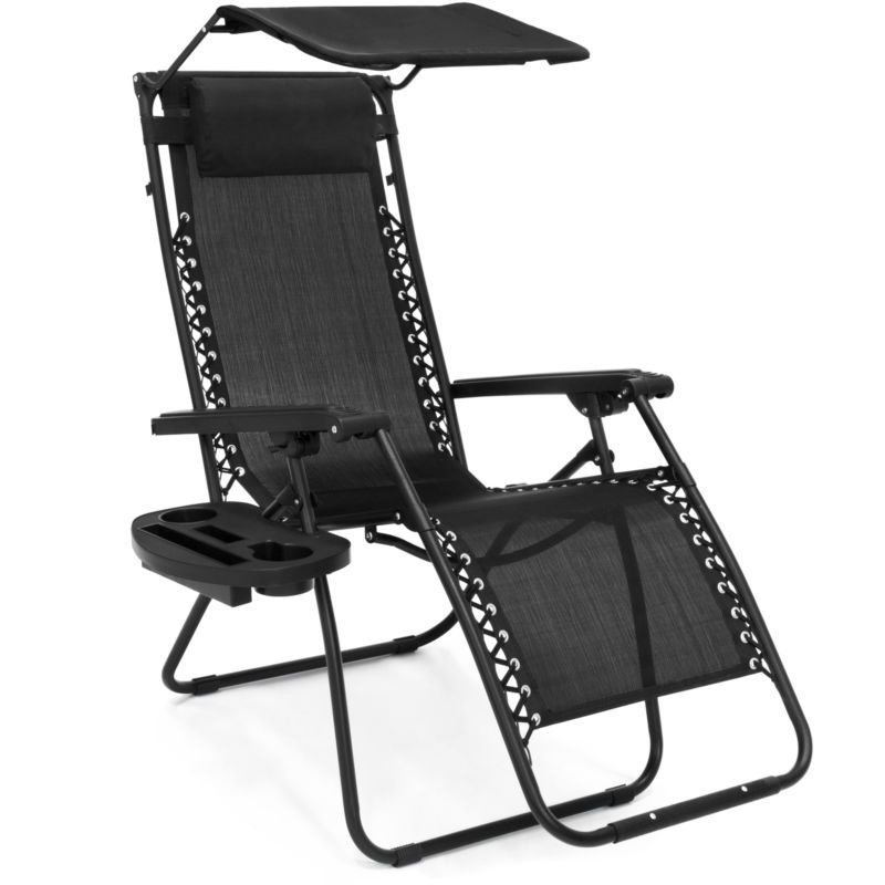 Folding Zero Gravity Recliner Lounge Chair W Shade Cup Holder Black Beach Chair With Canopy Zero Gravity Chair Outdoor Patio Chairs