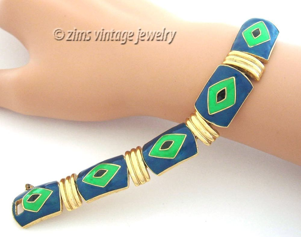 Vintage old EISENBERG Blue & Green black enamel Eye diamond Gold link BRACELET #Eisenberg #VintageBracelet