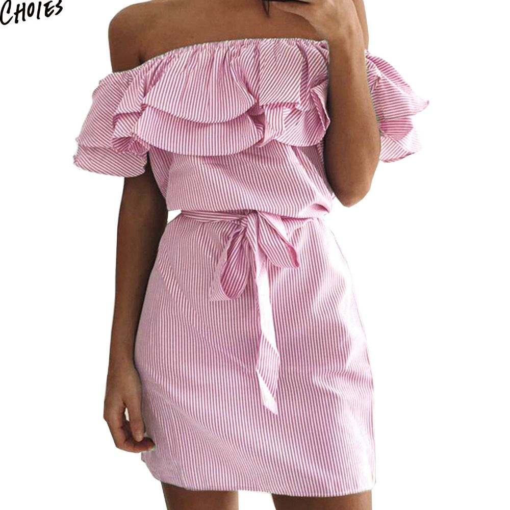 Pink short dress casual  Women Off the Shoulder Striped Layered Ruffle Tie Waist Mini Dress