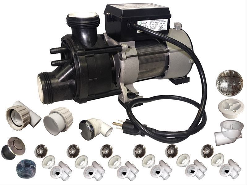 Complete Whirlpool Bathtub Retrofit Kit Chrome 3/4HP Pump