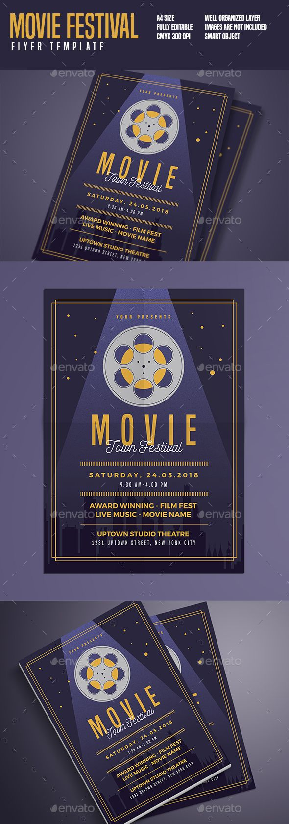 movie festival flyer movie flyer template and typography