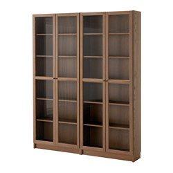 Ikea Ante Vetro Billy.Billy Oxberg Libreria Marrone Impiallacciatura Di Frassino