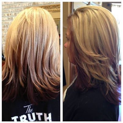 Red Underneath And Blonde Highlights On Top By Jacquelene Of Fringe Salon In Nutley Nj Blonde Highlights Long Hair Styles Cool Hairstyles