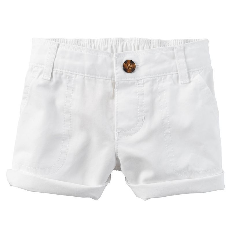 Baby Girl Carter's Cuffed Twill Shorts, White