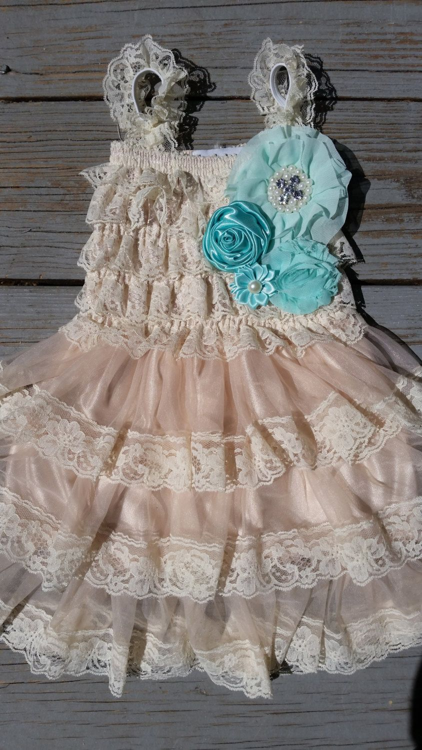 Mint blueturquoise flower girl lace by thedaintydaisynj on etsy