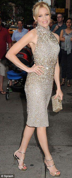 Elizabeth Banks in an elaborately sequined-and-beaded Elie Saab halter dress.
