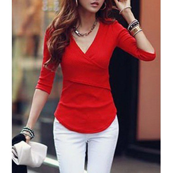 Stylish V-Neck 1/2 Sleeve Solid Color T-Shirt For Women