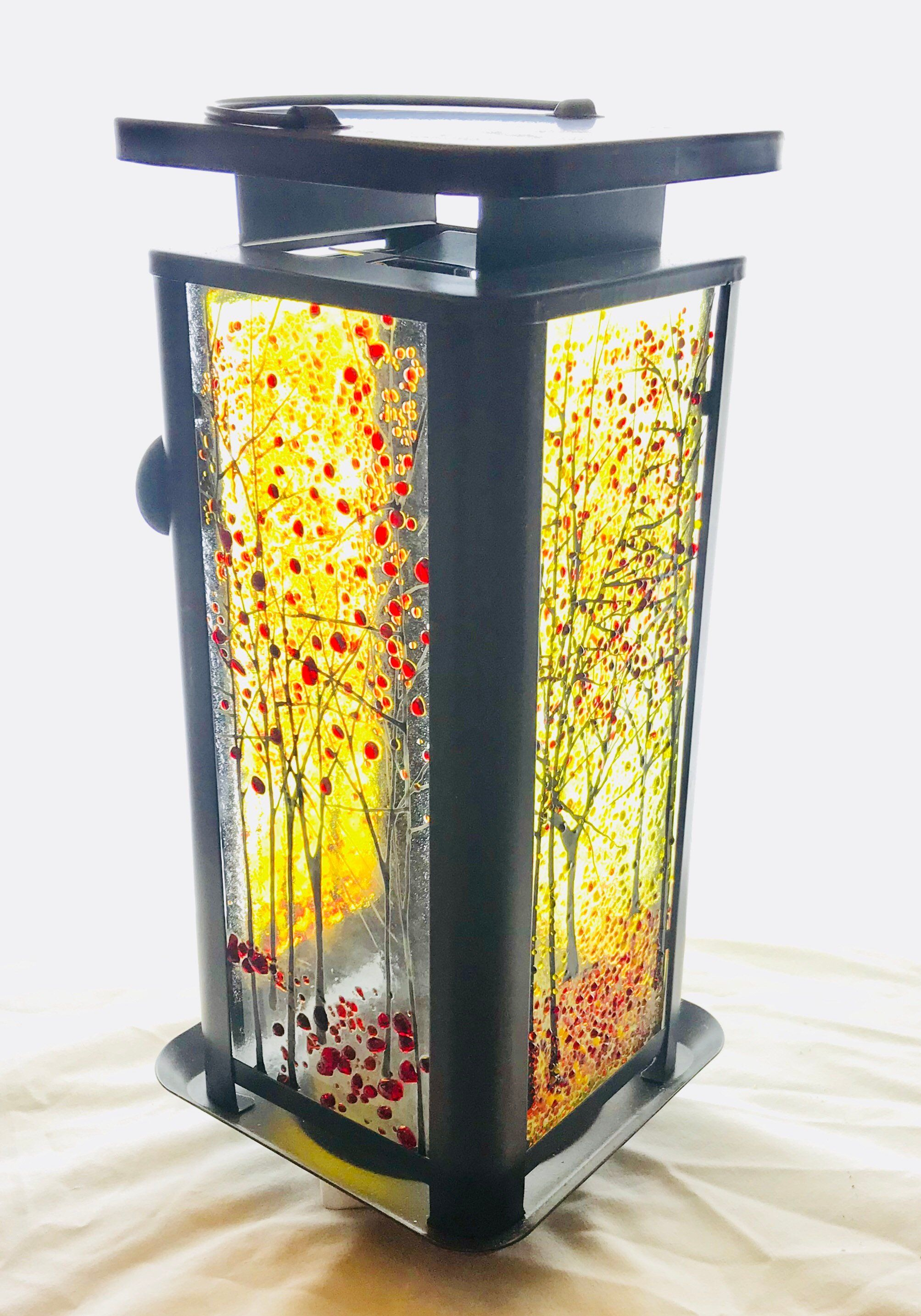 Large Hurricane Lamp Etsy Fused Glass Candle Holder Glass Lamp Glass Lantern