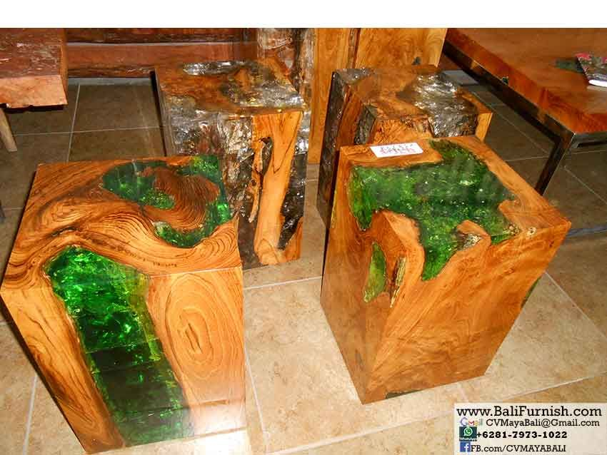 Teak Wood And Acrylic Resin Furniture From Bali Indonesia. Teak Balls With  Resin And Teak Wood Cubes. Furniture And Home Decors Made Of Teak Root Wood.