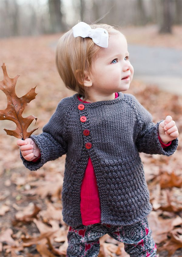 Free Knitting Pattern for Offset Front Baby Cardigan - Long-sleeved sweater knit top down with an offset front. Sizes 0-3 months (3-6 months, 6-12 months, 12-18 months). Designed by Taiga Hilliard Designs. Worsted weight yarn. Pictured project by lisadoggett #freeknittingpatterns