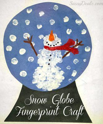 DIY Fingerprint Snow Globe Craft For Kids Snowman Art Project Christmas