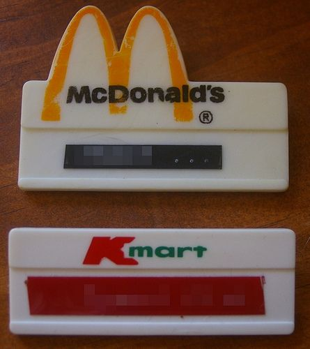 Early 80s McDonald\'s & Kmart employee name tags. I wore the ...