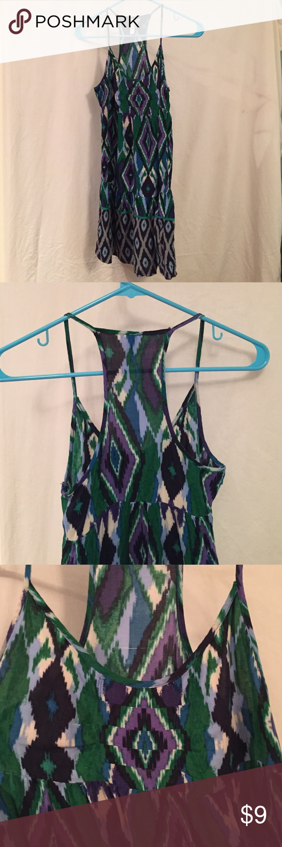 Printed trapeze-style dress Printed dress, trapeze-style neckline with spaghetti straps, emerald green/sky & cobalt blues/royal purple/navy/grey/cream, fits tighter in bust, super cute fit!, Xhilaration brand from Target, size XS Xhilaration Dresses