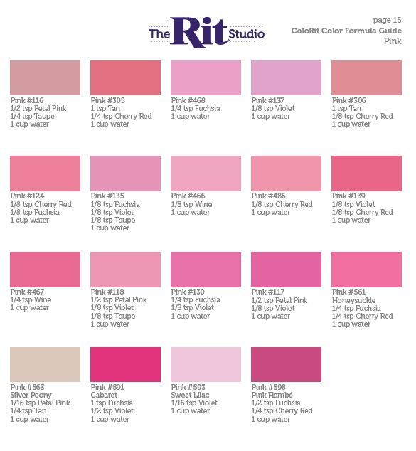 Pink Rit Dyes Rit Dye Colors Chart How To Dye Fabric Tie Dye Crafts