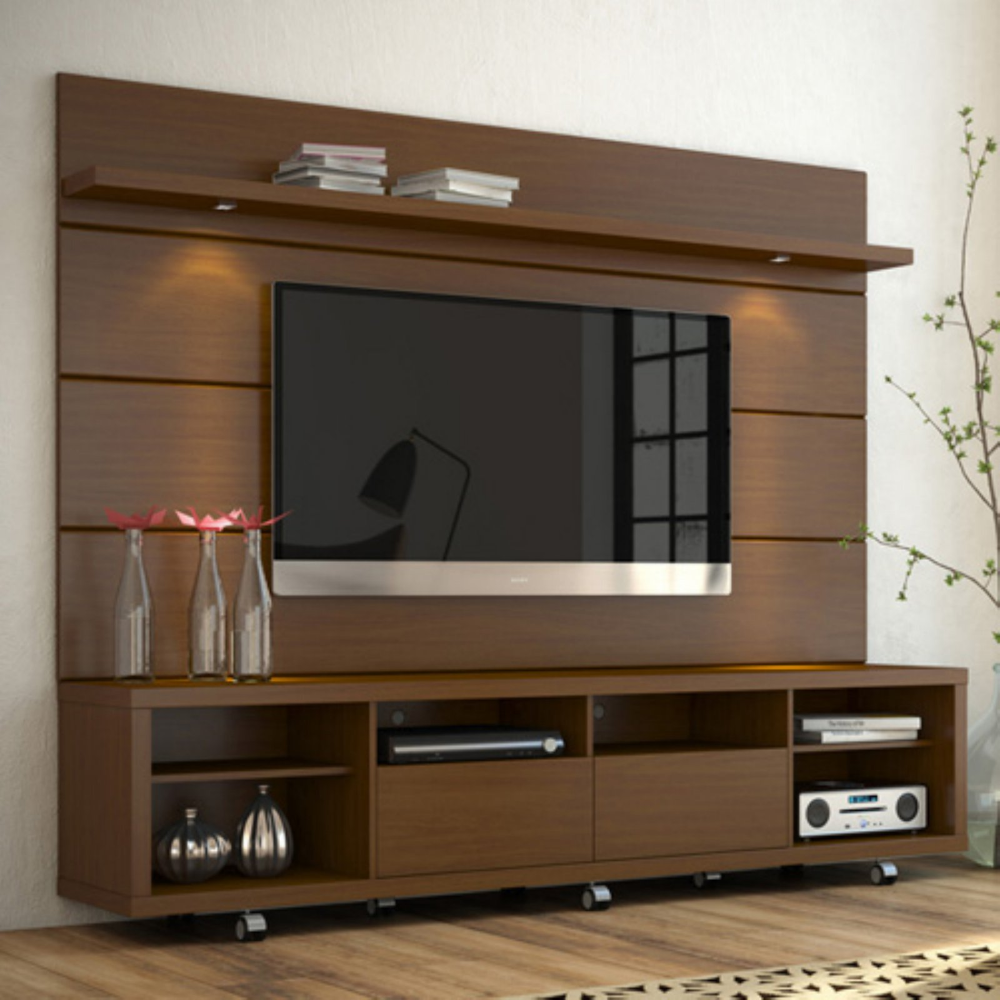 Cabrini Tv Stand And Panel 2 2 In Nut Brown Walmart Com Tv Cabinet Design Tv Wall Panel Living Room Tv Wall