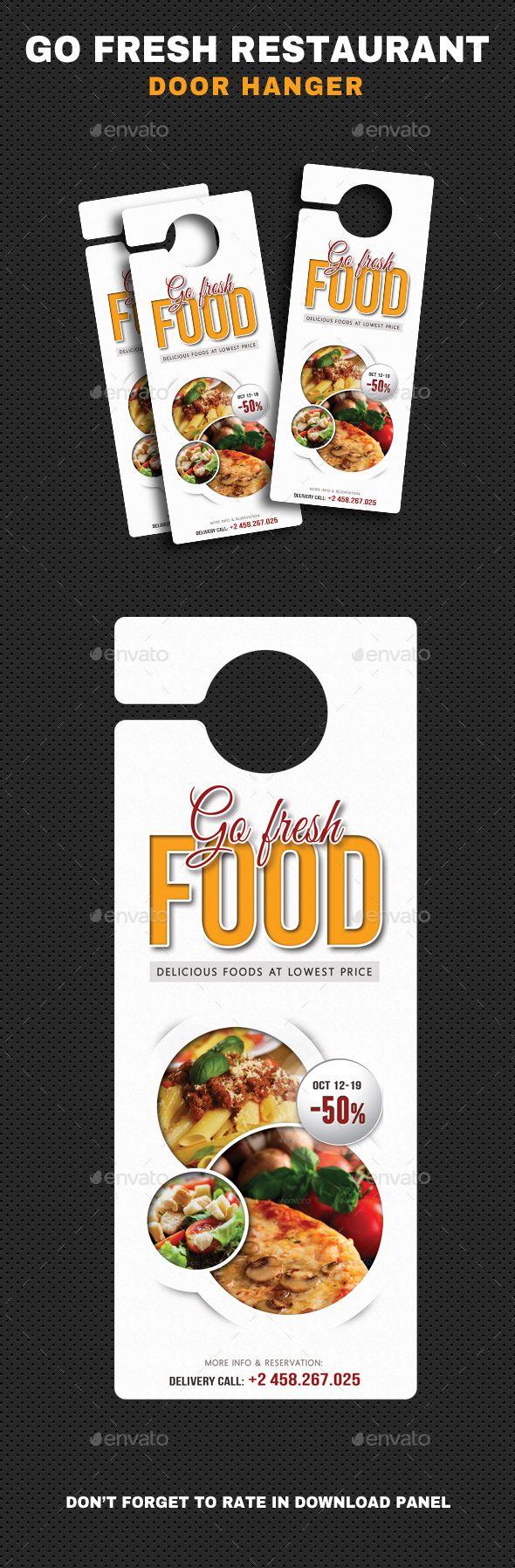 Go Fresh Restaurant Door Hanger Template PSD