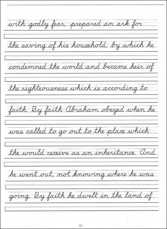 Scripture Character Writing Worksheets D'Nealian Advanced ...