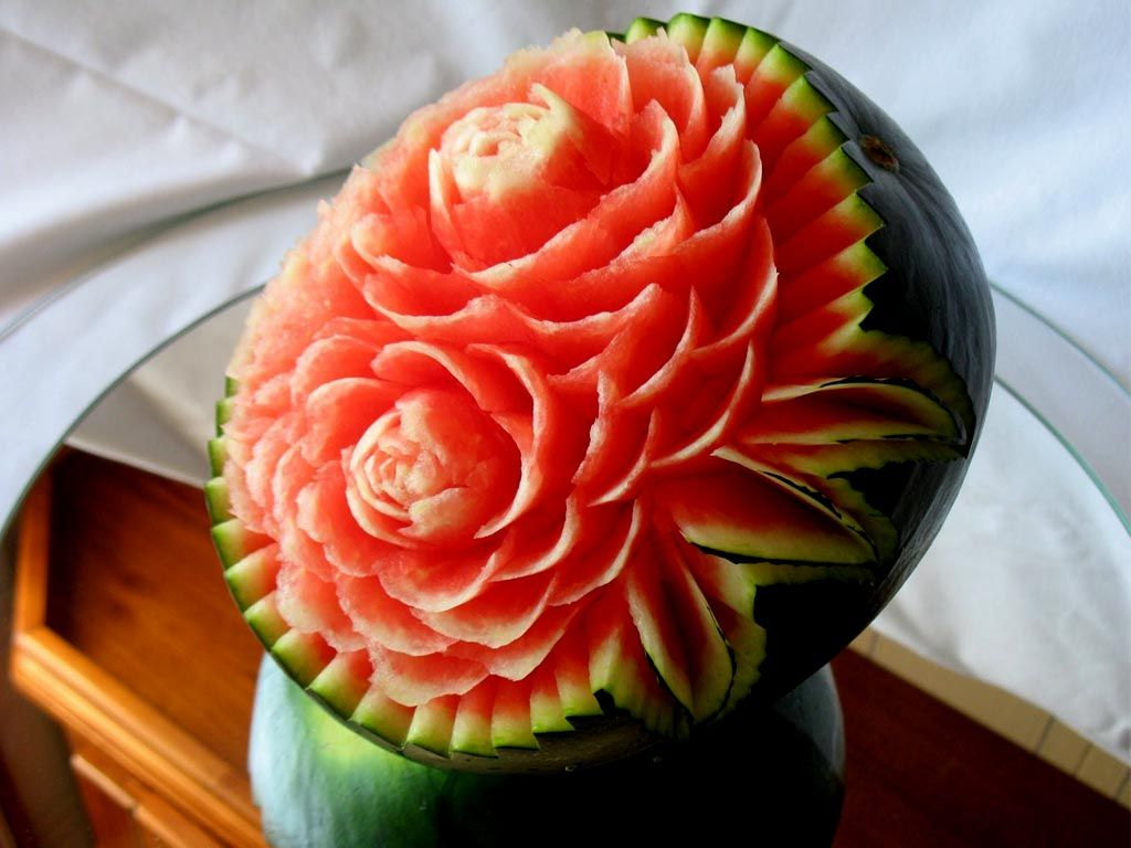 Watermelon carving fruit arts fruit carving pictures