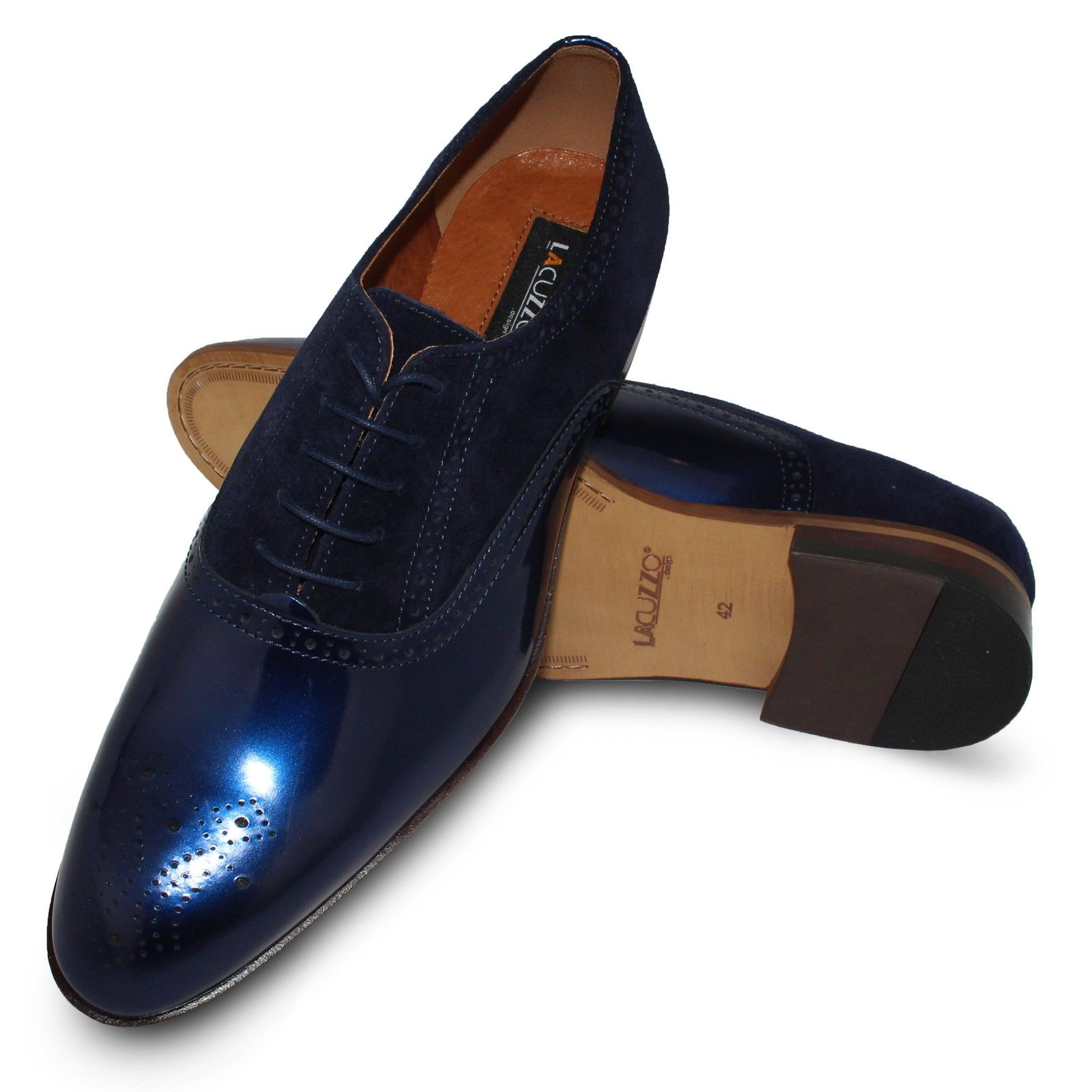 Lacuzzo Fancy Brogue Blue Dress shoes men, Dream shoes