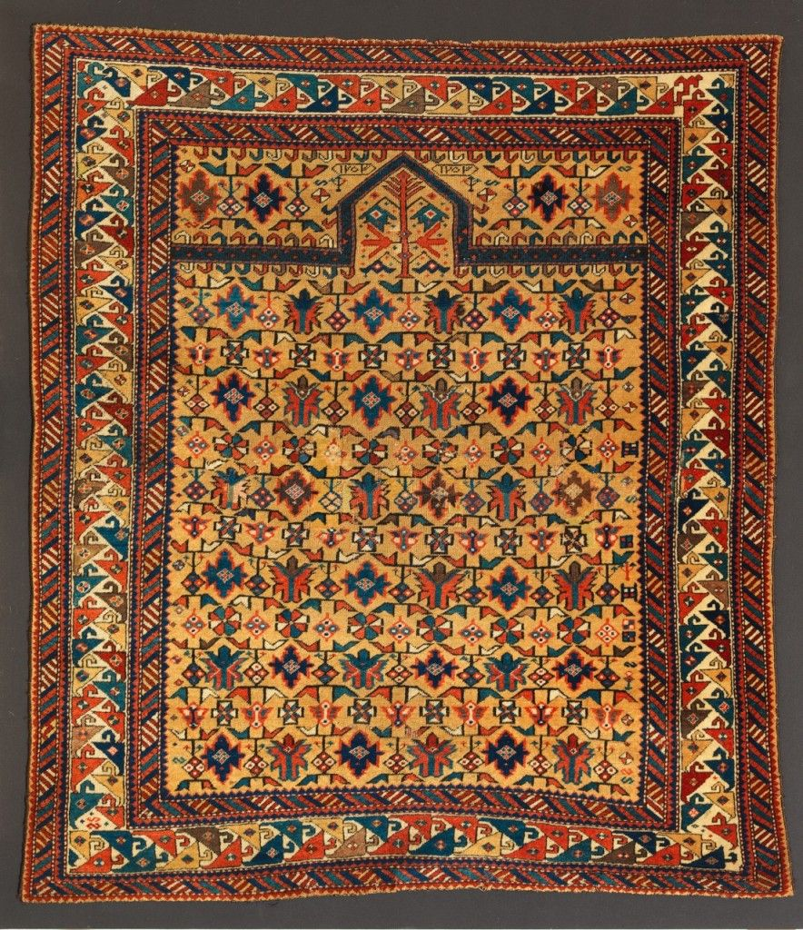 Prayer Rug Types: Very Fine Silk-foundation Kuba Prayer Rug, Caucasus, Early
