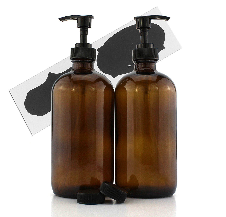 Amazon Com 16 Oz Empty Amber Glass Boston Round Bottles W Black