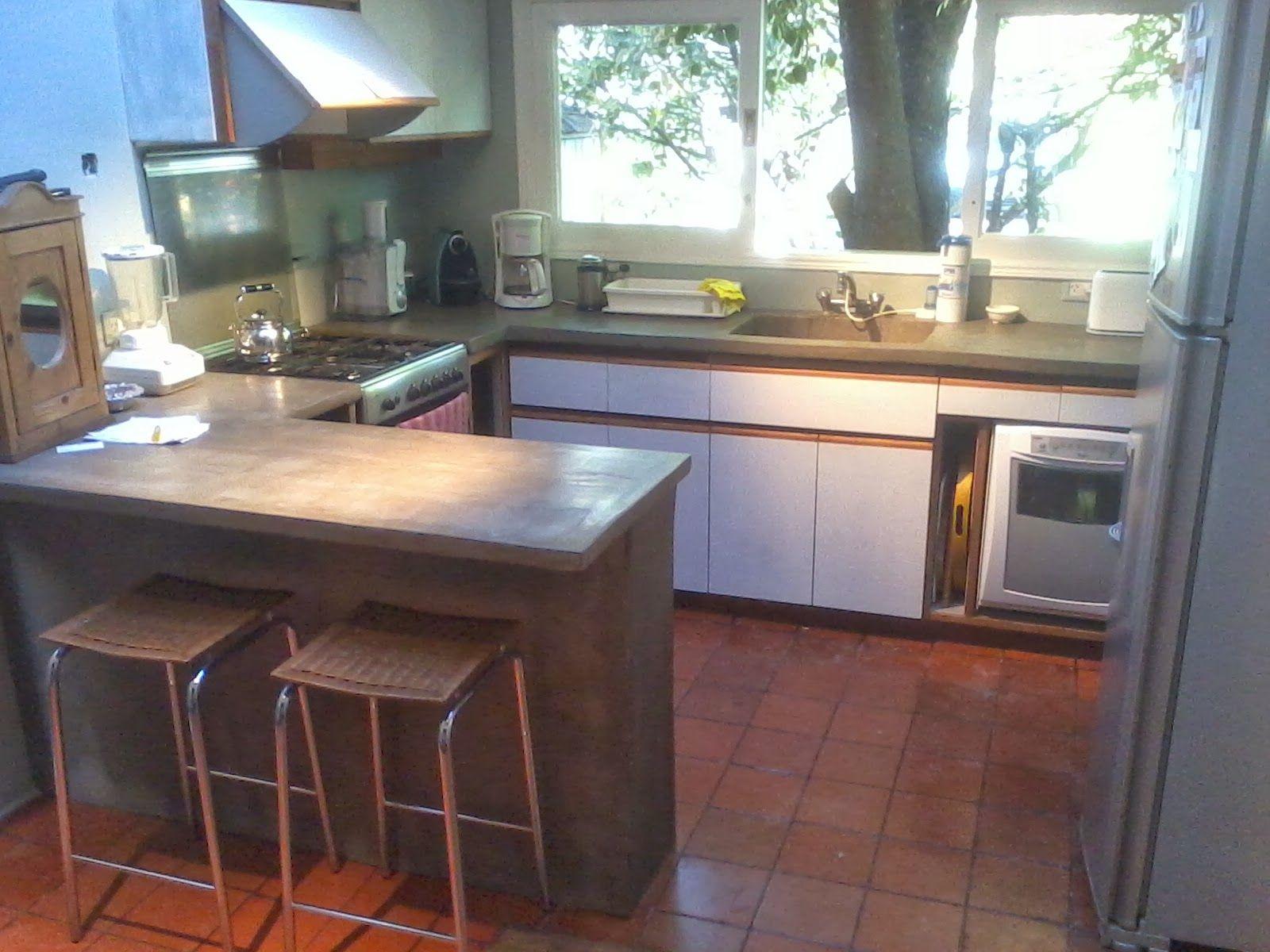 muebles de cocina barra mesada cemento 1600